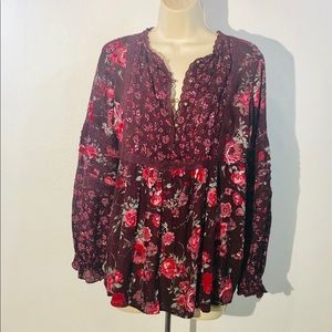 Knox Rose Floral Boho Blouse Pleated Lace Plum M